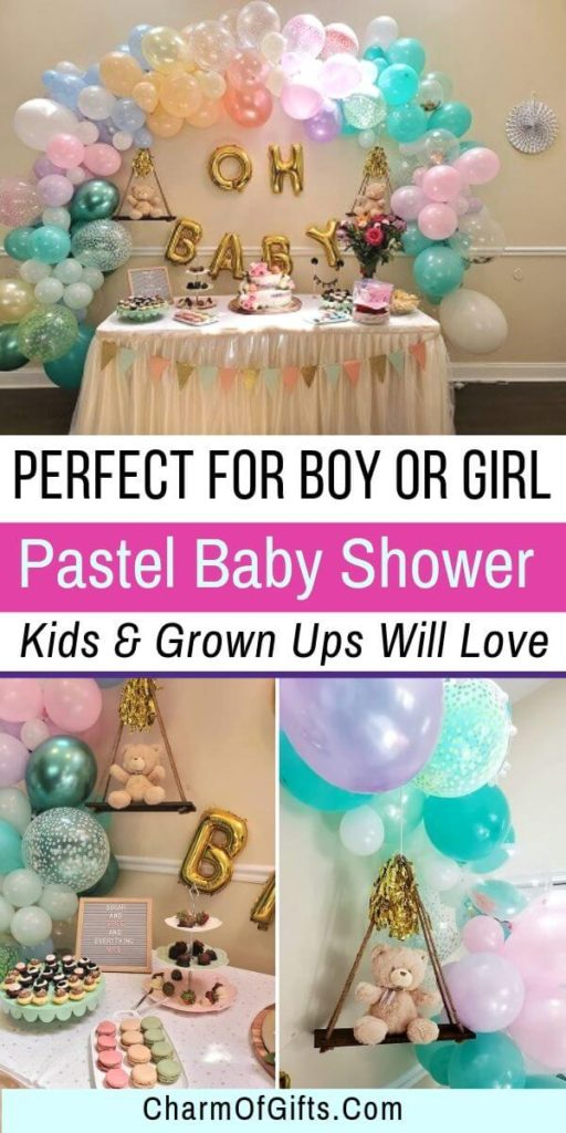 Pastel baby shower theme is perfect if you don't want to reveal the baby's gender. It will keep the guests guessing till the very end. Check out all the fun details and list of supplies you will need to pull a magical baby shower party. Includes baby shower diaper game, baby shower dessert table, balloon arch etc.