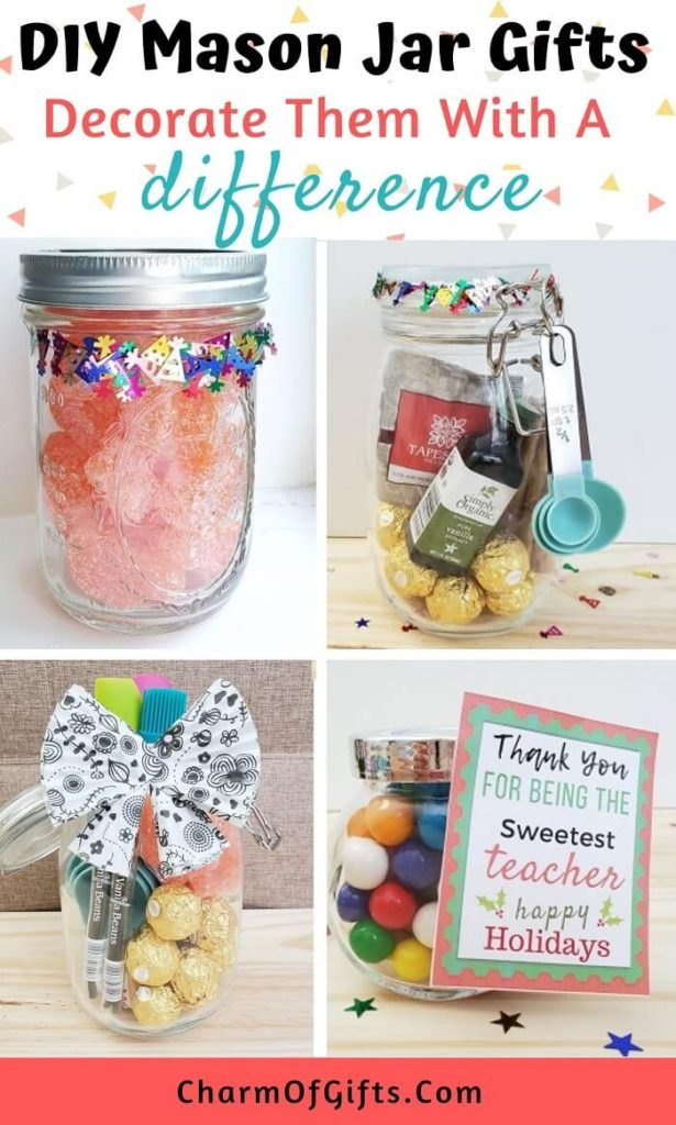 DIY homemade mason jar gifts with adorable decoration ideas that are better than a plain ribbon. Mason jar gifts for him and her, food mason jar gifts that are perfect for housewarming, holiday season etc.