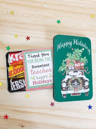Holiday DIY tin gift for teacher