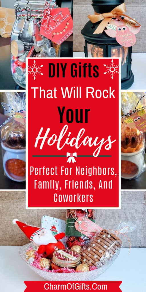 DIY Holiday gifts that are so easy and simple to put together and your neighbors, friends, family and even colleagues will really love. Handmade gifts that are affordable, but not crap! They will use these festive gifts year and year.