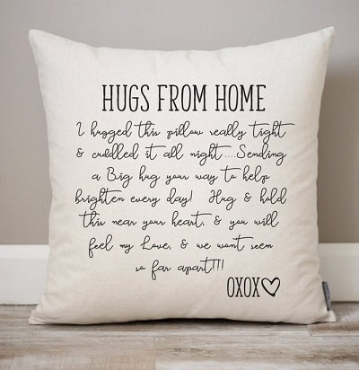 hugs from home pillow for college students