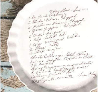 handwritten recipe from mom or garndmother printed on baking dish