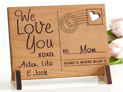 wooden post card for mom
