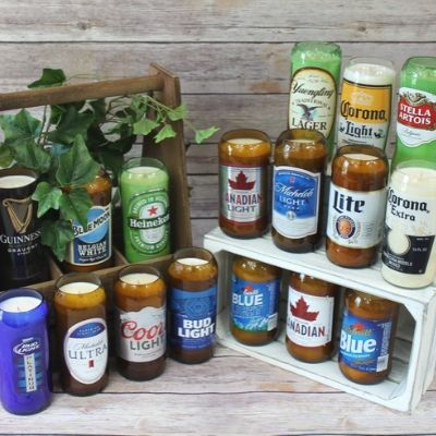 glass beer bottle candle recycled