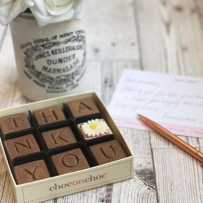 small chocolate box that spells thank you