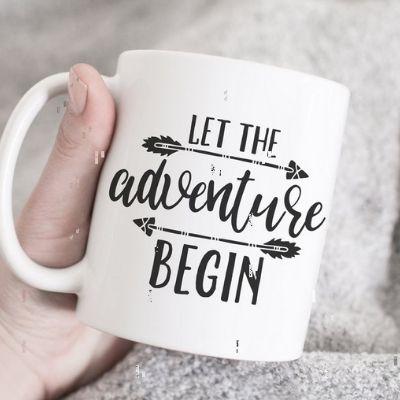 let the adventure begin ceramic mug
