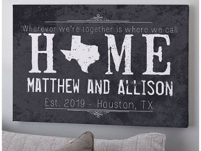 large canvas print with couple's name