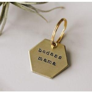 mama keychain made of brass